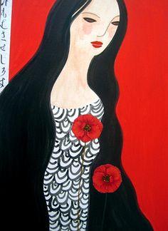 woman with poppy, black, white, red, illustration, carmen garcía
