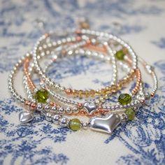 Sterling Silver Peridot Kinsey Heart Beaded Bracelet by LitaKinsey, $40.00