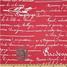 Premier Prints Penmanship Twill Sherbet/Pink $7.48