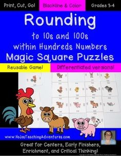 Rounding to 10s and 100s within Hundreds Numbers Magic Square Puzzles - $ - Reusable game! Differentiated versions! Just print, cut, and go! Blackline & color! Grades 3-4. Great for centers, early or fast finishers, enrichment, and critical thinking!