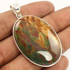 925 Sterling Silver Jewelry Natural BLOODSTONE Big Gemstone Marvellous Pendant #Unbranded #Pendant
