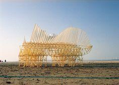 Esculturas articuladas caminham sozinhas à beira-mar