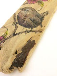 Original Wren painting on driftwood. Bird art by carlaJ | Etsy