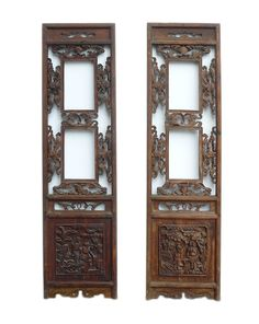 Vintage Pair Chinese Double Window Wood Panels cs699-3  650-522-9888 goldenlotusinc@yahoo.com #interior #home #furniture #Gift #SALE