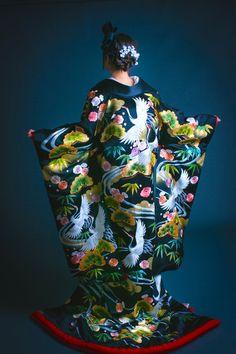 くくる(CUCURU) 正絹糸縫黒吉祥文流水鶴