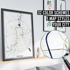 FREE SHIPPING WITHIN EU AND USA  We really love maps. Map prints, map posters, map illustrations. Our map designs consist 32 color schemes and 5 styles to choose from. Maps are very detailed and fully customizable if needed.    #mapprint #mapart #citymap #citymapprint #citymapposter #mapwallart #mapposter Map Posters, City Map Poster, Map Wall Art, Map Art, Rome Map, Map Illustrations, Custom Map, Us Map, Map Design