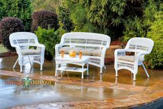 Havenside Home Lincolnville Outdoor Seating Set with Coastal White Wicker (Red/Brown/Multicolor), Multi, Patio Furniture (Steel) White Wicker Patio Furniture, Patio Dining Chairs, Lounge Seating, Patio Furniture Sets, Outdoor Seating, Outdoor Decor, Furniture Logo, Furniture Ideas, Nice Furniture