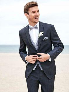 Custom dark blue notched LAPEL SUIT, male two button / best man wedding dress / best man's coat (coat + pants + vest)