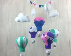 Baby mobile hot air balloon mobile cloud mobile by littleHooters