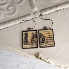 Your place to buy and sell all things handmade Glass Earrings, Unique Earrings, Custom Jewelry, Vintage Jewelry, Vintage Stamps, Paper Dimensions, Interior Design Living Room, Repurposed, Gift Wrapping