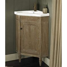 Fairmont Designs Rustic Chic Corner Vanity & Sink Set - Weathered Oak - Bathroom Vanities Only Corner Vanity Sink, Corner Sink Bathroom, Cozy Bathroom, Rustic Bathroom Vanities, Bathroom Vanity Cabinets, Rustic Bathrooms, Bathroom Styling, Bathroom Furniture, Small Bathroom