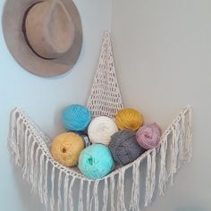 A crocheted hammock for making smart use of small spaces and turning any previously empty corner into a chic storage solution. Yarn Storage, Toy Storage, Extra Storage, Crochet Hammock, Yarn Organization, Clothing Organization, Organizing Tips, Toy Hammock, Hanging Closet Organizer