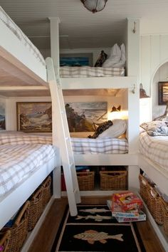 Lots of sleeping space for guests in a small lake home.
