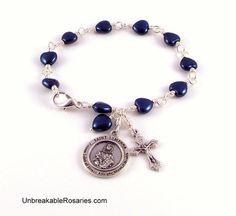 St Dymphna Rosary Bracelet In Montana Blue Czech Glass Hearts www.UnbreakableRosaries.com
