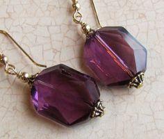 Wedding  Amethyst  Crystal Earrings. 14 K Gold by geminiartworks, $16.00