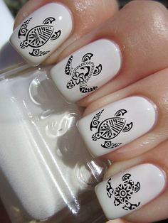 Tribal Turtle Nail Decals. $4.50, via Etsy.