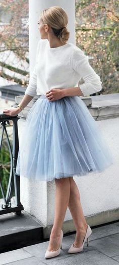 White Top, Blue Tulle Skirt | Outlet Value Blog