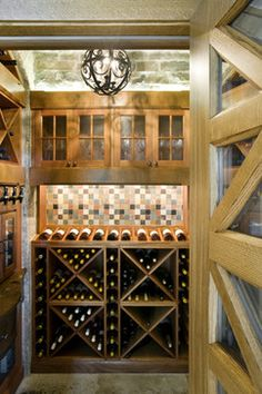 Weston Transitional Residence eclectic wine cellar