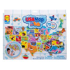 Use your bath soaking time wisely - learning US geography - with the new Alex Toys' USA Map bathtub puzzle. Manufactured by Alex Toys.