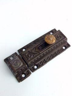 Antique Victorian Slide Bolt Cast Iron Bronze Knob Circa 1880's AH02081503