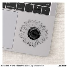 Black and White Sunflower Blossom Sticker This cheerful Black and White Sunflower Contour Sticker will brighten up your laptop computer or water bottle. This cute cutout sticker features a digitally enhanced floral photograph of a garden sunflower blossom. Perfect for a flower lover, gardener or florist. #sunflowers #sunflowerstickers White Sunflower, Sunflower Gifts, Personalized Stickers, Personalized Gifts, White Ink, Black And White, Farewell Gifts, Vinyl Sheets, Florists