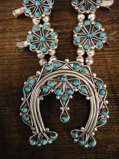 Vintage Zuni Sterling Turquoise Squash Blossom Necklace Unusual Design   eBay