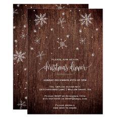 Rustic Snowflake Christmas Dinner Card - Xmas ChristmasEve Christmas Eve Christmas merry xmas family kids gifts holidays Santa