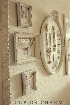 Cupids Charm - Notes From A Charmed Life: My New Studio Space – Wall Display (To display pearls & fancy jewelry. Great idea)