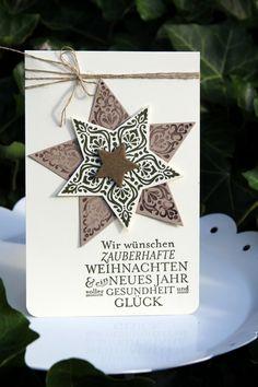 Weihnachtskarte mit Stampin` Up. Stempelset Zauber der Weihnacht, Stanzen-Set Stern-Kollektion