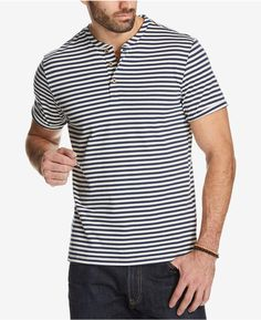 YUNY Men Stripe Long-Sleeve Relaxed Stylish Buttoned Slim T-Shirts Red 2XL