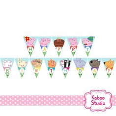 Printable Happy Birthday Banner - Peppa Pig, George and friends Inspired Birthday Banner