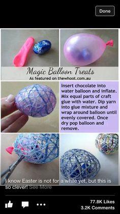 DIY Easter Magic Balloon Treats easter diy craft easter crafts easter diy easter craft easter eggs diy easter decor diy easter easter party decorations kids easter crafft by Zee Kids Crafts, Glue Crafts, Diy And Crafts, Easter Crafts For Adults, String Crafts, Magic Crafts, Fun Crafts To Do, Candy Crafts, Food Crafts