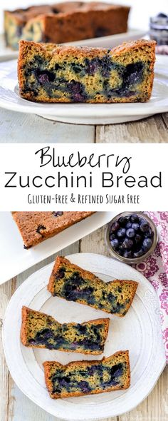 Healthy Blueberry Zucchini Bread! Recipe The perfect breakfast or snack packed full of fruits and vegetables! Gluten-free and refined-sugar free!