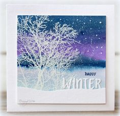 We´ve got our first snow! Made a card for a color challenge with a stamp and a die from Penny Black! SkywardWinter Snow Script Thanks! Christmas Card Crafts, Christmas Cards To Make, Xmas Cards, Holiday Cards, Christmas Art, Christmas Feeling, Penny Black Karten, Penny Black Cards, Penny Black Stamps
