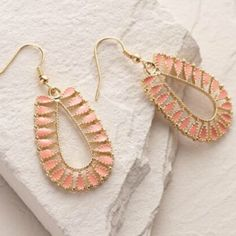Gold and coral drop earrings new New bohemian style urban drop earrings with coral stone Jewelry Earrings