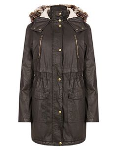 Pure Cotton Fleece Lined Hooded Parka | M&S