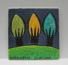 FUNKELBÄUMCHEN Nr. 4 Herbivore11 Inchie Baum Bäume Minibild kleine Kunst sammeln