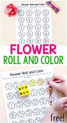 This flower roll and color math activity is a fun way for kids to learn numbers 1-20. Reinforces colors and numbers for beginning ESOL students.