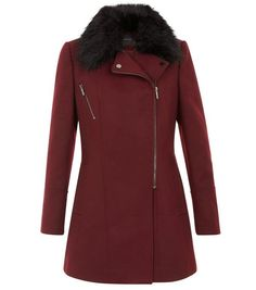 Burgundy Faux Fur Collar Longline Biker Coat    New Look