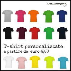 Maglietta t-shirt 100% cotone con stampa personalizzata da € 4,80 a € 6,10  (il prezzo si abbassa in base alla quantità dell'ordine, insomma!). Scrivici o chiama per  un preventivo gratuito, tutti i recapiti sono qui: http://www.decografic.com/contatti.html #tshirt #stampadigitale #DecograficGenova