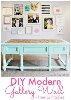 DIY Modern Gallery Wall + Free Printables | www.classyclutter.net I love the arrangement of these photos.KG