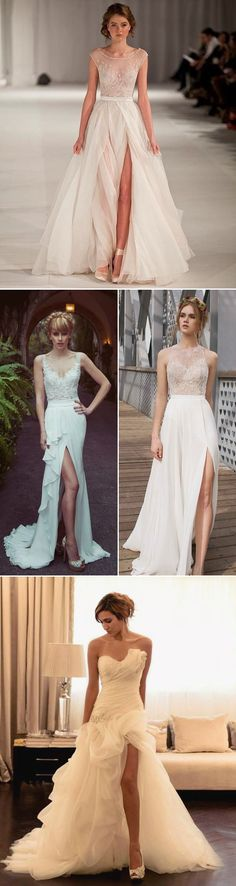 Sweet & Feminine Beach High Slit Wedding Gowns 2016 #wedding #dress #fashion…