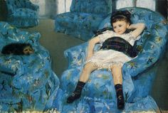 Little Girl in a Blue Armchair, 1878 ~ Mary Stevenson Cassatt ~ (American: 1844-1926)