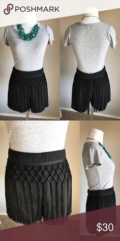 {ASTR} Fringe Overlay Shorts Sophisticated black shorts perfect for any occasion! 100% polyester. No holes or stains. *No trades* Nordstrom Shorts