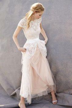 BHLDN Anabelle short lace wedding dress + Julia skirt + Luciana lace topper #WeddingDressesShort