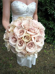 Bride's Wedding Bouquet Of Creamy Blush Sahara Roses~~ Rose Wedding Bouquet, Rose Bouquet, Bridesmaid Bouquet, Floral Wedding, Wedding Flowers, Flower Bouquets, Wedding Bride, Wedding Events, Our Wedding