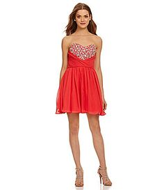 Masquerade Sweetheart Beaded Wrap Party Dress #Dillards