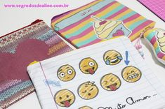 Estojo ou Necessaire Personalizados Diy And Crafts, Office Supplies, Notebook, Hand Printed Fabric, Hand Stitching, Diy, Creativity, Log Projects, School Supplies