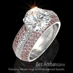 Bez Ambar's Paloma Ring with Blaze® cut diamonds and pink sapphire Bookend Bands #diamondjewelry #blazecutdiamonds www.bezambar.com