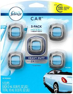 Febreze Car Air Freshener, Set of 5 Clips, Linen & Skyup to 150 Days. Control the scent intensity with the dial found on the top of each CAR Vent Clip, for a range from light freshness to scent-tastic. best car air freshener to get   best car air freshener products... Best Car Air Freshener, Febreze Car, Odor Eliminator, Honda Logo, Packaging, Day, Range, Products, Cookers